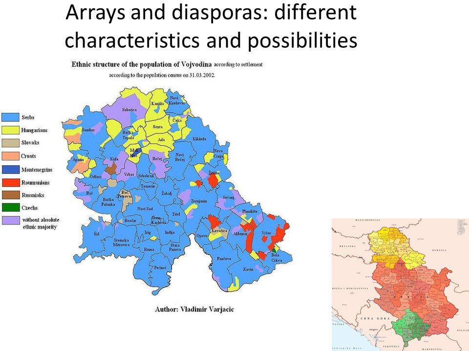 Arrays and diasporas: different characteristics and possibilities