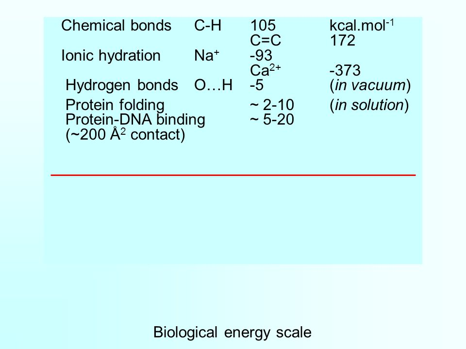 Biological energy scale Chemical bondsC-H105kcal.mol -1 C=C172 Ionic hydrationNa + -93 Ca 2+ -373 Hydrogen bondsO…H-5(in vacuum) Protein folding~ 2-10(in solution) Protein-DNA binding~ 5-20 (~200 Å 2 contact)