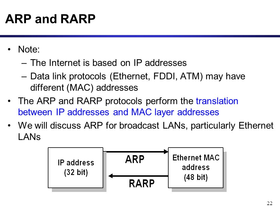 22 ARP and RARP Note: –The Internet is based on IP addresses –Data link protocols (Ethernet, FDDI, ATM) may have different (MAC) addresses The ARP and RARP protocols perform the translation between IP addresses and MAC layer addresses We will discuss ARP for broadcast LANs, particularly Ethernet LANs