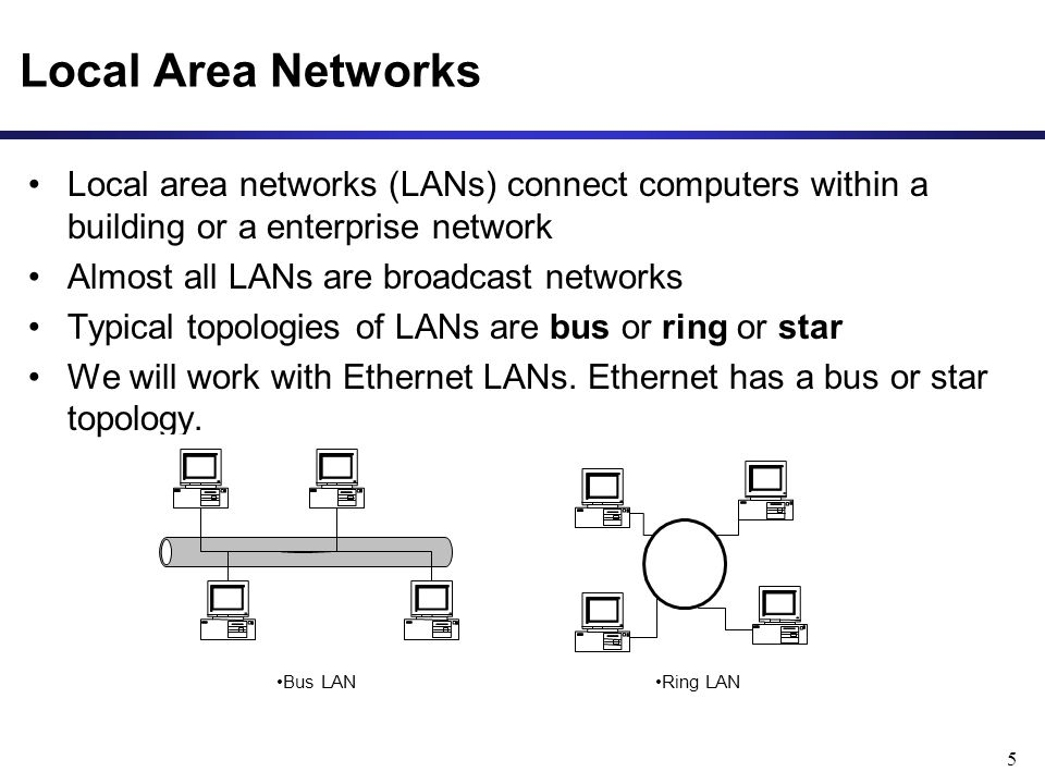 5 Local Area Networks Local area networks (LANs) connect computers within a building or a enterprise network Almost all LANs are broadcast networks Typical topologies of LANs are bus or ring or star We will work with Ethernet LANs.