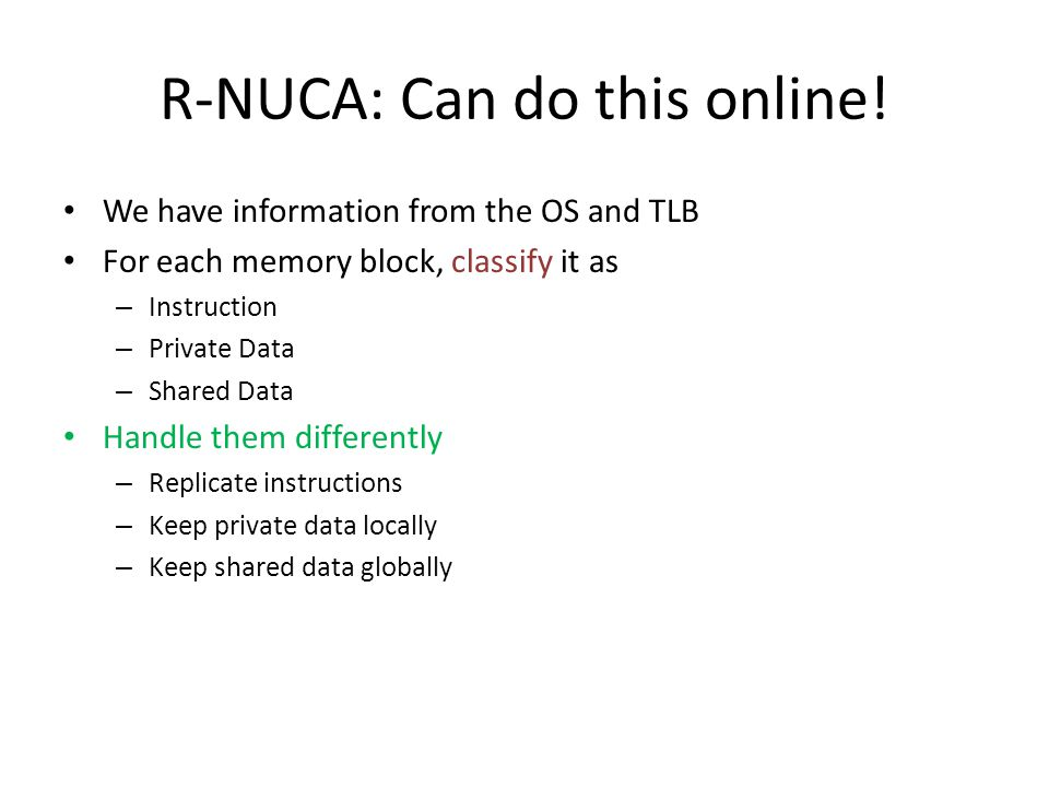R-NUCA: Can do this online.