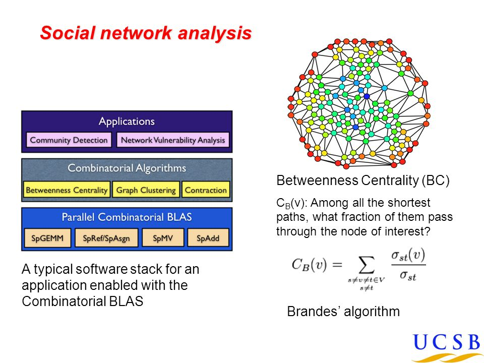 Social network analysis Betweenness Centrality (BC) C B (v): Among all the shortest paths, what fraction of them pass through the node of interest.