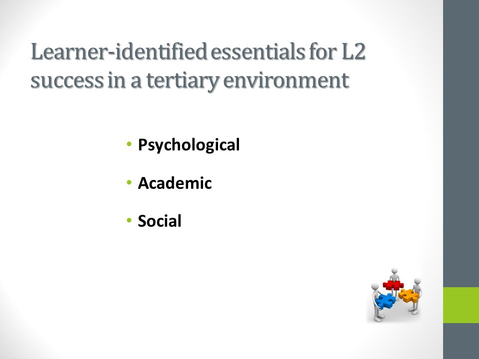 Learner-identified essentials for L2 success in a tertiary environment Psychological Academic Social