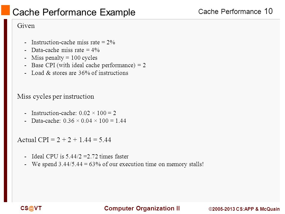 Cache Performance 10 Computer Organization II CS@VT ©2005-2013 CS:APP & McQuain Cache Performance Example Given -Instruction-cache miss rate = 2% -Data-cache miss rate = 4% -Miss penalty = 100 cycles -Base CPI (with ideal cache performance) = 2 -Load & stores are 36% of instructions Miss cycles per instruction -Instruction-cache: 0.02 × 100 = 2 -Data-cache: 0.36 × 0.04 × 100 = 1.44 Actual CPI = 2 + 2 + 1.44 = 5.44 -Ideal CPU is 5.44/2 =2.72 times faster -We spend 3.44/5.44 = 63% of our execution time on memory stalls!