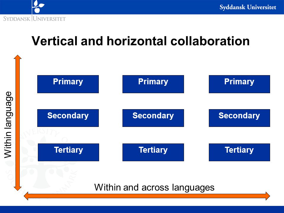 Vertical and horizontal collaboration Primary Secondary Tertiary Within and across languages Within language