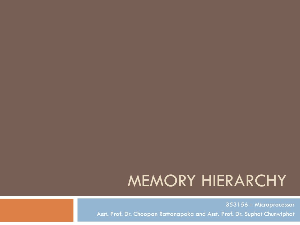 MEMORY HIERARCHY 353156 – Microprocessor Asst. Prof.