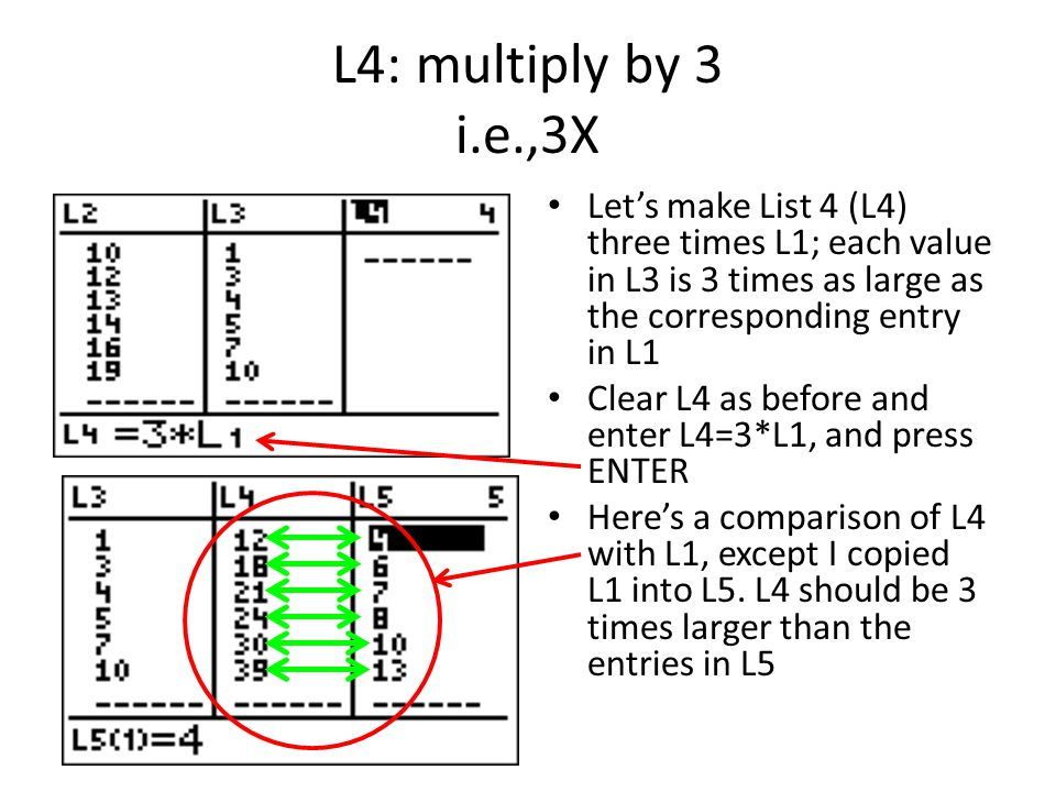 L4: multiply by 3 i.e.,3X Let's make List 4 (L4) three times L1; each value in L3 is 3 times as large as the corresponding entry in L1 Clear L4 as before and enter L4=3*L1, and press ENTER Here's a comparison of L4 with L1, except I copied L1 into L5.
