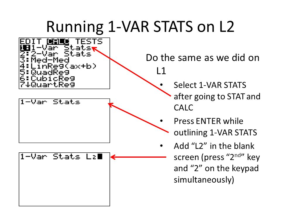 Running 1-VAR STATS on L2 Do the same as we did on L1 Select 1-VAR STATS after going to STAT and CALC Press ENTER while outlining 1-VAR STATS Add L2 in the blank screen (press 2 nd key and 2 on the keypad simultaneously)
