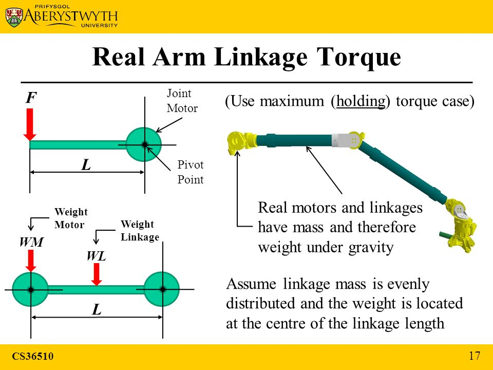 CS36510 17 Real Arm Linkage Torque F L Joint Motor Pivot Point (Use maximum (holding) torque case) L WL WM Real motors and linkages have mass and therefore weight under gravity Assume linkage mass is evenly distributed and the weight is located at the centre of the linkage length Weight Motor Weight Linkage