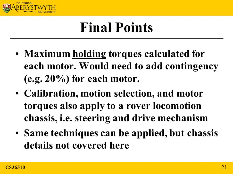 Final Points Maximum holding torques calculated for each motor.