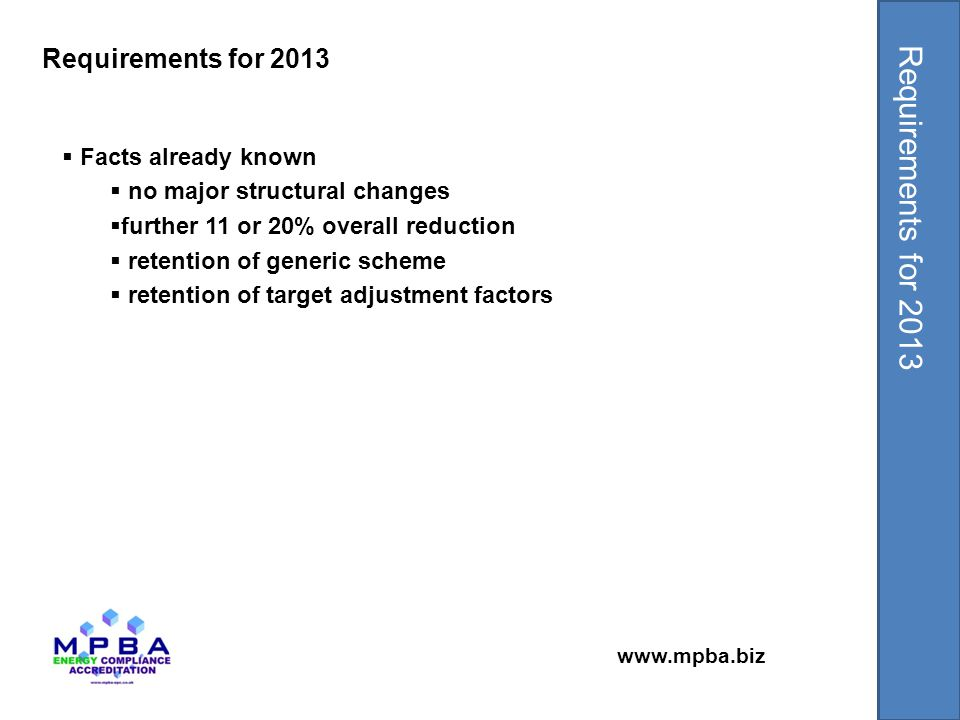 www.mpba.biz  Facts already known  no major structural changes  further 11 or 20% overall reduction  retention of generic scheme  retention of target adjustment factors Requirements for 2013