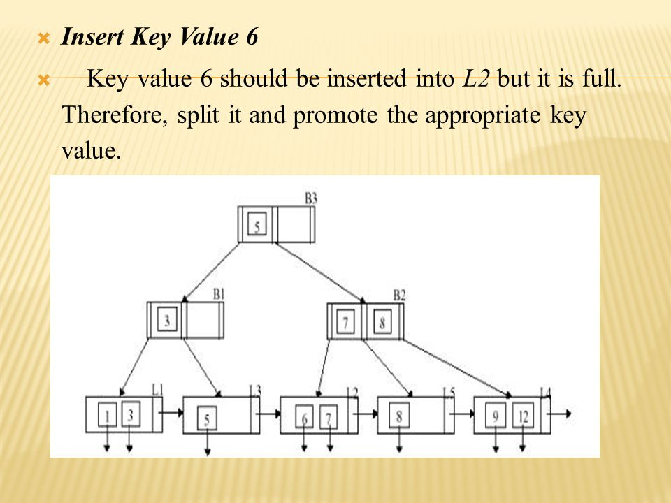  Insert Key Value 6  Key value 6 should be inserted into L2 but it is full.