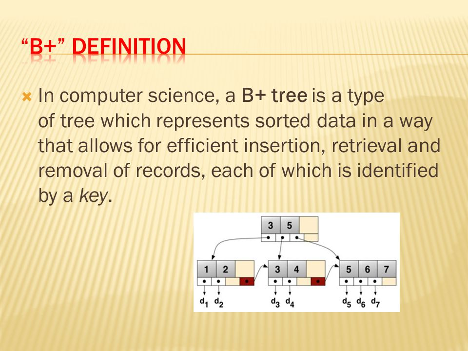  In computer science, a B+ tree is a type of tree which represents sorted data in a way that allows for efficient insertion, retrieval and removal of records, each of which is identified by a key.