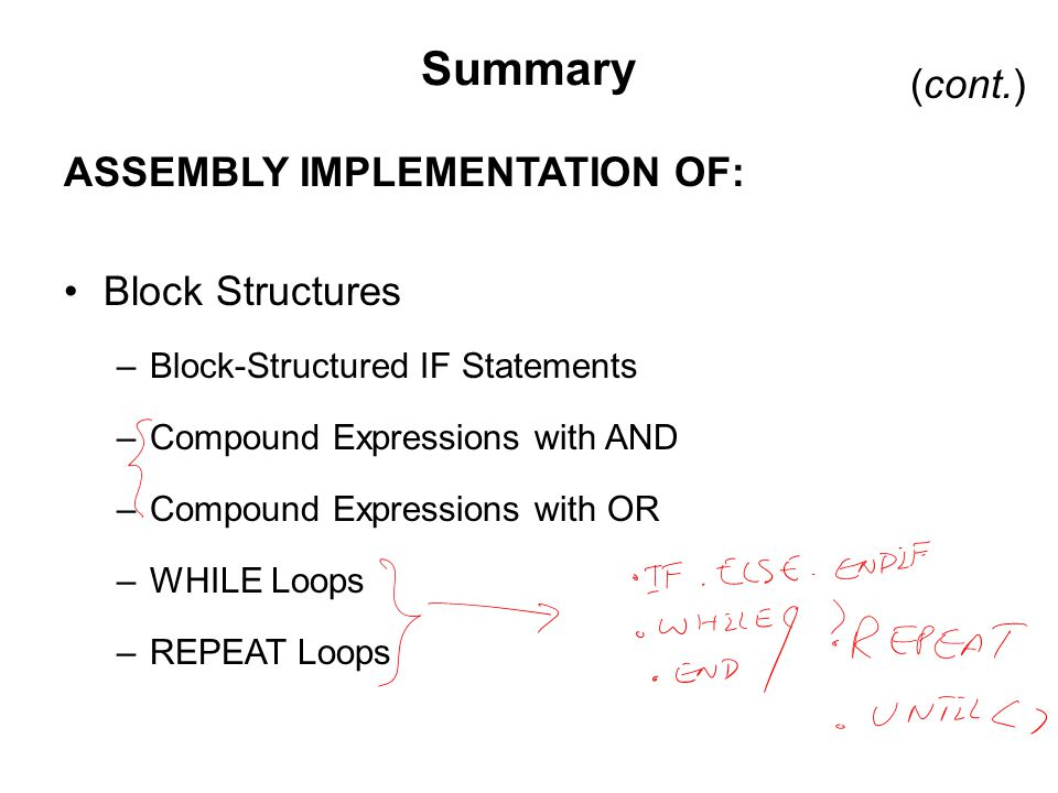 Summary ASSEMBLY IMPLEMENTATION OF: Block Structures –Block-Structured IF Statements –Compound Expressions with AND –Compound Expressions with OR –WHILE Loops –REPEAT Loops (cont.)