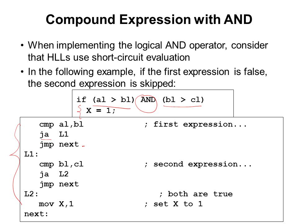 Compound Expression with AND When implementing the logical AND operator, consider that HLLs use short-circuit evaluation In the following example, if the first expression is false, the second expression is skipped: if (al > bl) AND (bl > cl) X = 1; cmp al,bl; first expression...