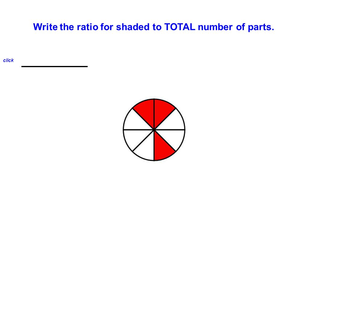Write the ratio for shaded to TOTAL number of parts. 3 : 8 click