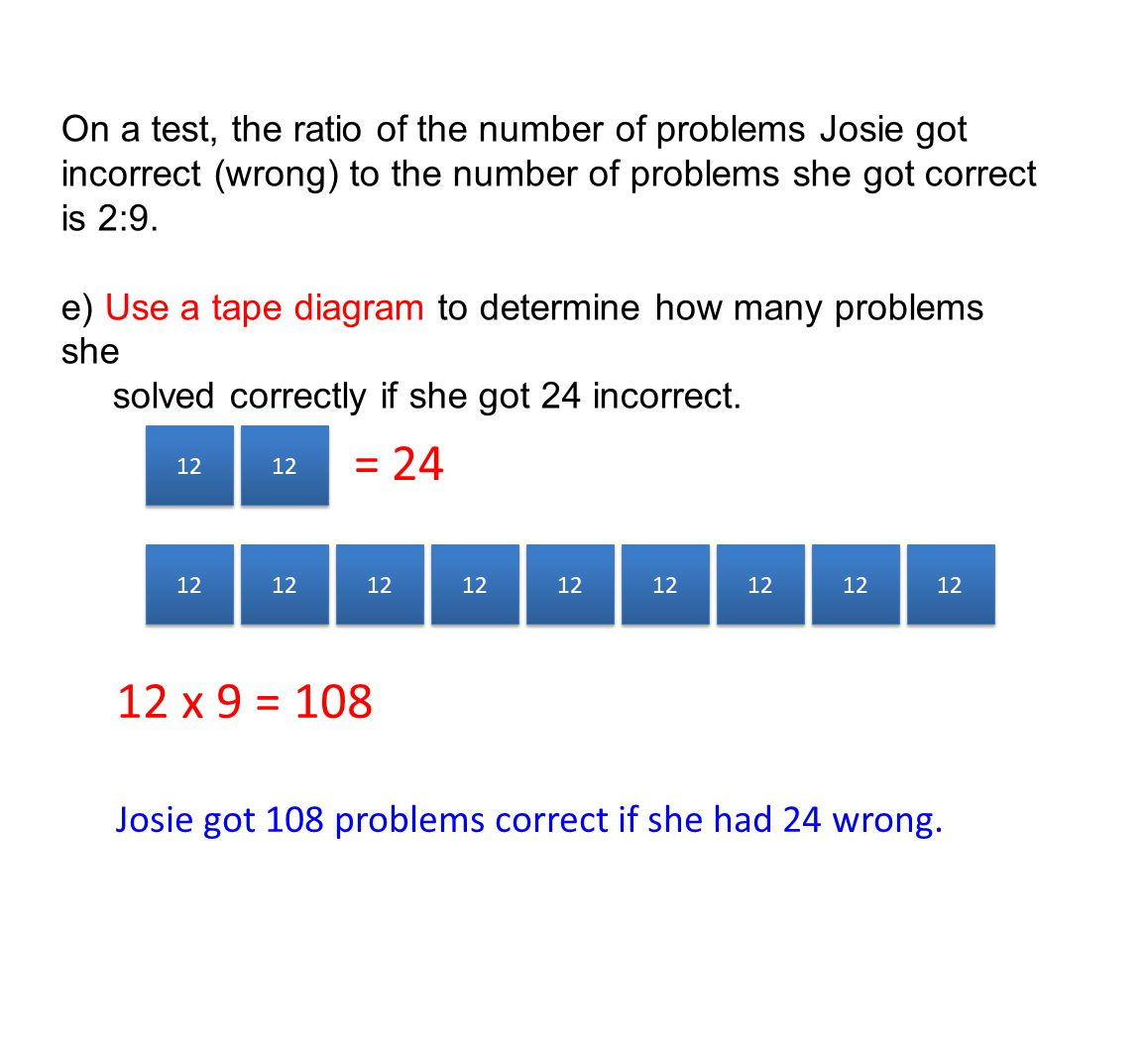 On a test, the ratio of the number of problems Josie got incorrect (wrong) to the number of problems she got correct is 2:9.