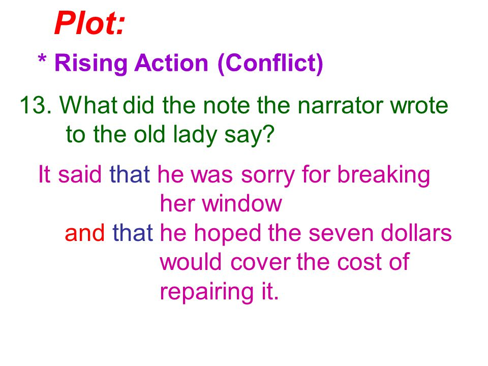 Plot: * Rising Action (Conflict) 13. What did the note the narrator wrote to the old lady say.