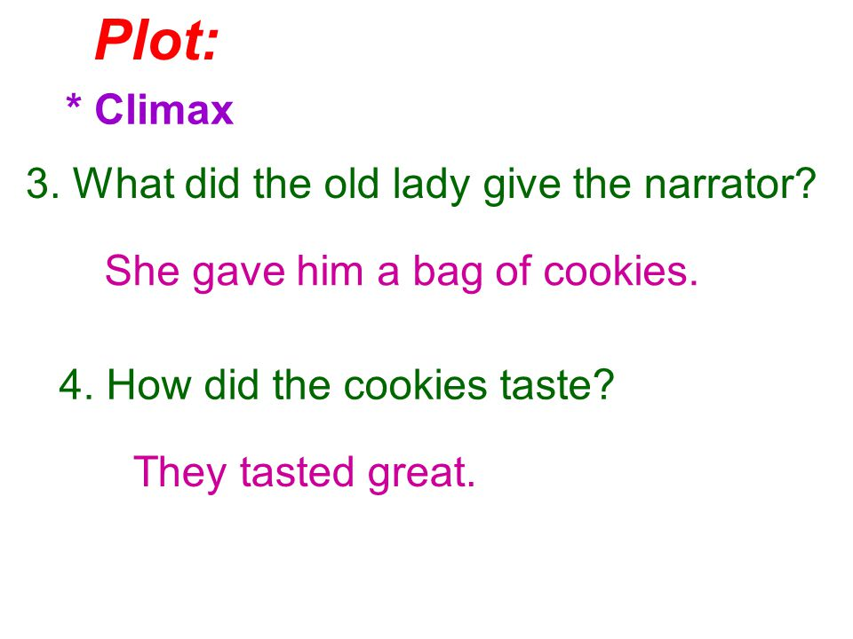 Plot: * Climax 3. What did the old lady give the narrator.