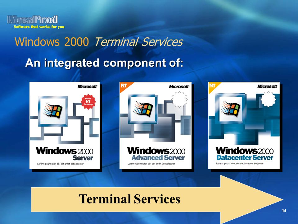 Software that works for you 14 Windows 2000 Terminal Services An integrated component of: Terminal Services