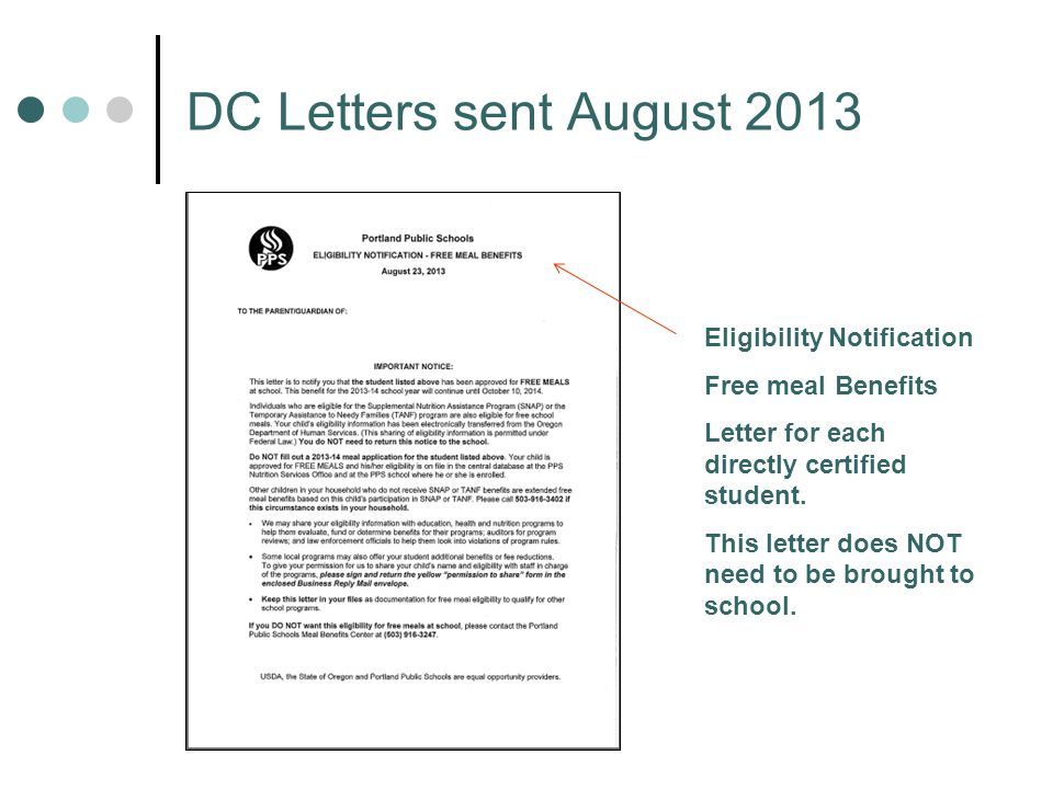 DC Letters sent August 2013 Eligibility Notification Free meal Benefits Letter for each directly certified student.