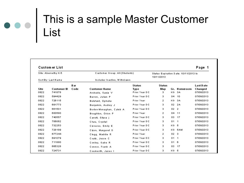 This is a sample Master Customer List