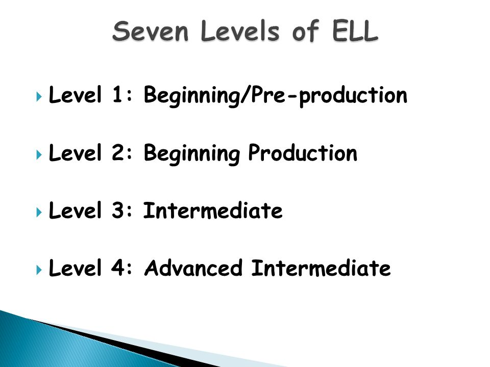  Level 1: Beginning/Pre-production  Level 2: Beginning Production  Level 3: Intermediate  Level 4: Advanced Intermediate