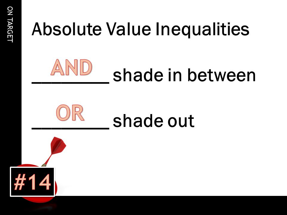 ON TARGET Absolute Value Inequalities ________ shade in between ________ shade out