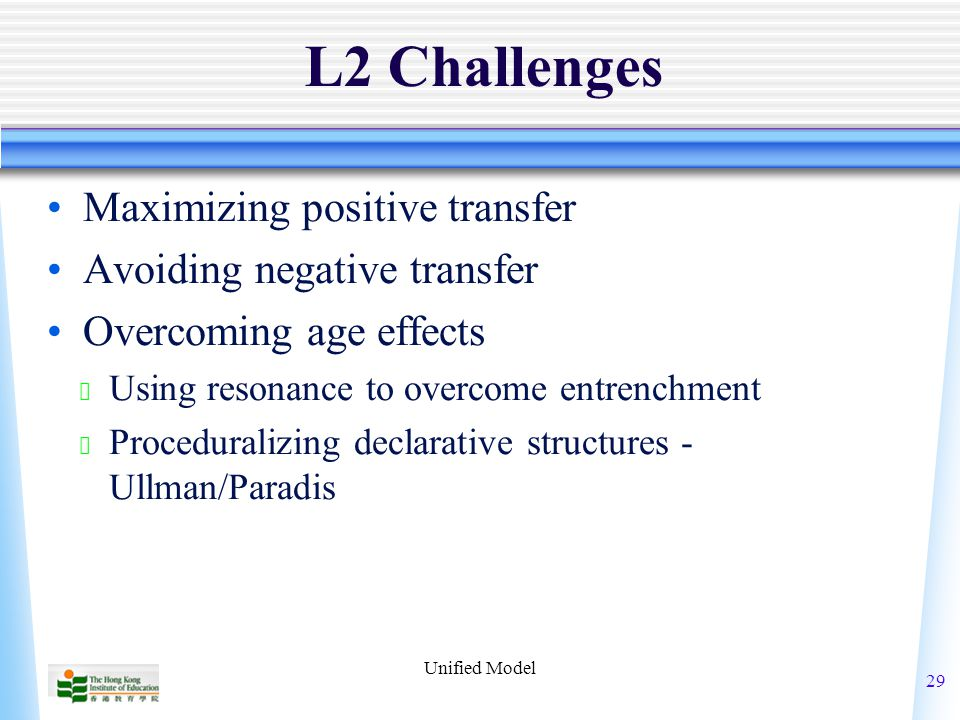 Unified Model 29 L2 Challenges Maximizing positive transfer Avoiding negative transfer Overcoming age effects ★ Using resonance to overcome entrenchment ★ Proceduralizing declarative structures - Ullman/Paradis
