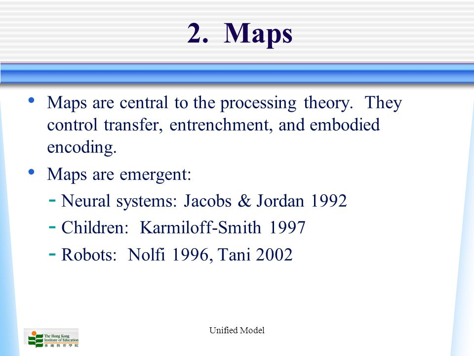Unified Model 2. Maps Maps are central to the processing theory.