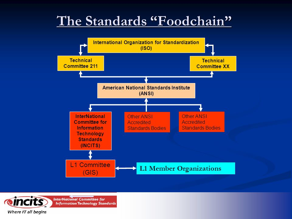 The Standards Foodchain InterNational Committee for Information Technology Standards (INCITS) L1 Committee (GIS) American National Standards Institute (ANSI) International Organization for Standardization (ISO) Technical Committee 211 Technical Committee XX L1 Member Organizations Other ANSI Accredited Standards Bodies