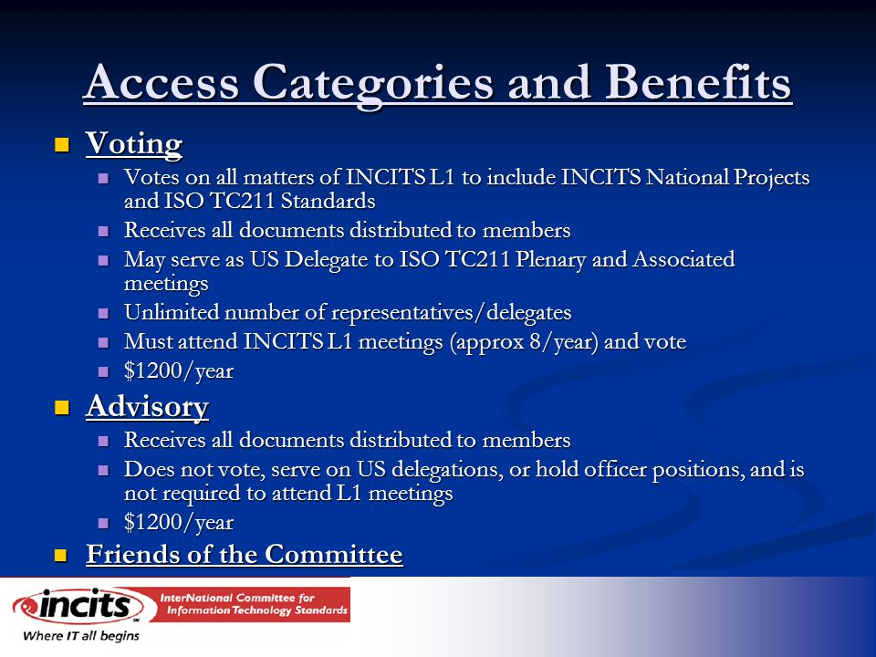 Access Categories and Benefits Voting Voting Votes on all matters of INCITS L1 to include INCITS National Projects and ISO TC211 Standards Votes on all matters of INCITS L1 to include INCITS National Projects and ISO TC211 Standards Receives all documents distributed to members Receives all documents distributed to members May serve as US Delegate to ISO TC211 Plenary and Associated meetings May serve as US Delegate to ISO TC211 Plenary and Associated meetings Unlimited number of representatives/delegates Unlimited number of representatives/delegates Must attend INCITS L1 meetings (approx 8/year) and vote Must attend INCITS L1 meetings (approx 8/year) and vote $1200/year $1200/year Advisory Advisory Receives all documents distributed to members Receives all documents distributed to members Does not vote, serve on US delegations, or hold officer positions, and is not required to attend L1 meetings Does not vote, serve on US delegations, or hold officer positions, and is not required to attend L1 meetings $1200/year $1200/year Friends of the Committee Friends of the Committee