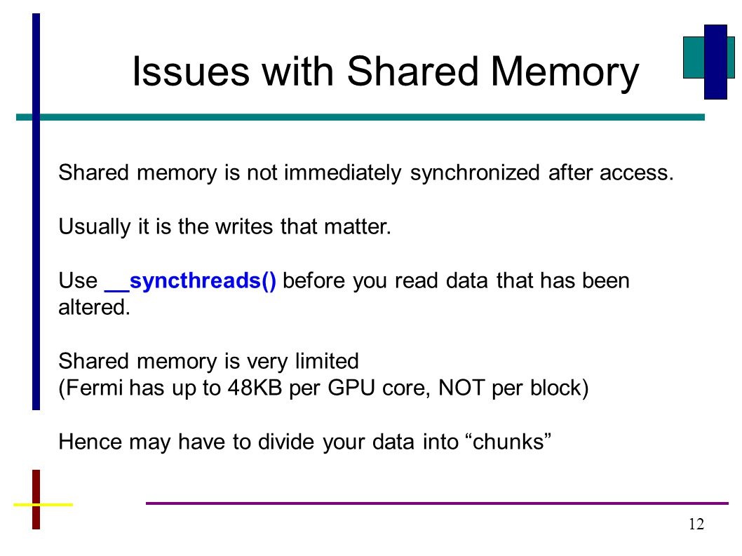 12 Issues with Shared Memory Shared memory is not immediately synchronized after access.
