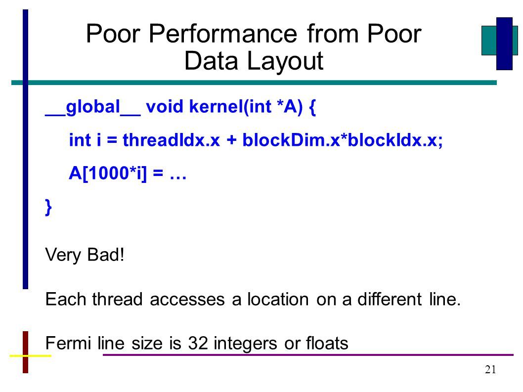 21 Poor Performance from Poor Data Layout __global__ void kernel(int *A) { int i = threadIdx.x + blockDim.x*blockIdx.x; A[1000*i] = … } Very Bad.