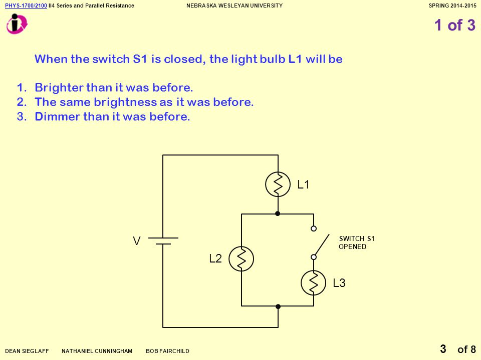 PHYS-1700/2100PHYS-1700/2100 II4 Series and Parallel ResistanceNEBRASKA WESLEYAN UNIVERSITYSPRING 2014-2015 DEAN SIEGLAFF NATHANIEL CUNNINGHAM BOB FAIRCHILD of 8 3 1 of 3 When the switch S1 is closed, the light bulb L1 will be 1.Brighter than it was before.