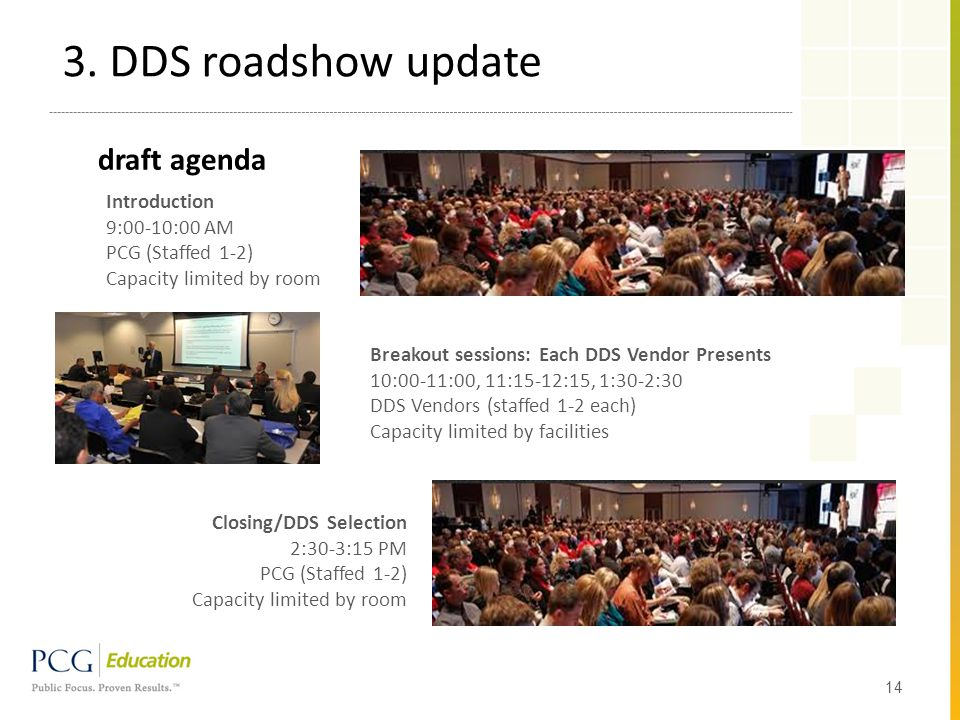 draft agenda 14 Introduction 9:00-10:00 AM PCG (Staffed 1-2) Capacity limited by room Breakout sessions: Each DDS Vendor Presents 10:00-11:00, 11:15-12:15, 1:30-2:30 DDS Vendors (staffed 1-2 each) Capacity limited by facilities Closing/DDS Selection 2:30-3:15 PM PCG (Staffed 1-2) Capacity limited by room 3.