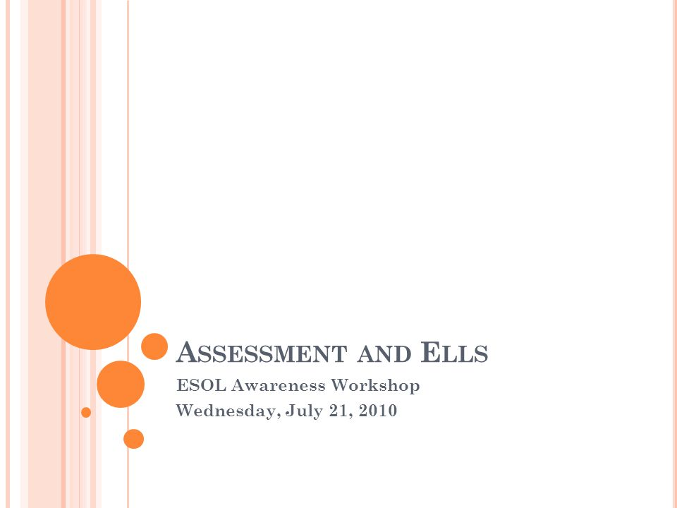 A SSESSMENT AND E LLS ESOL Awareness Workshop Wednesday, July 21, 2010