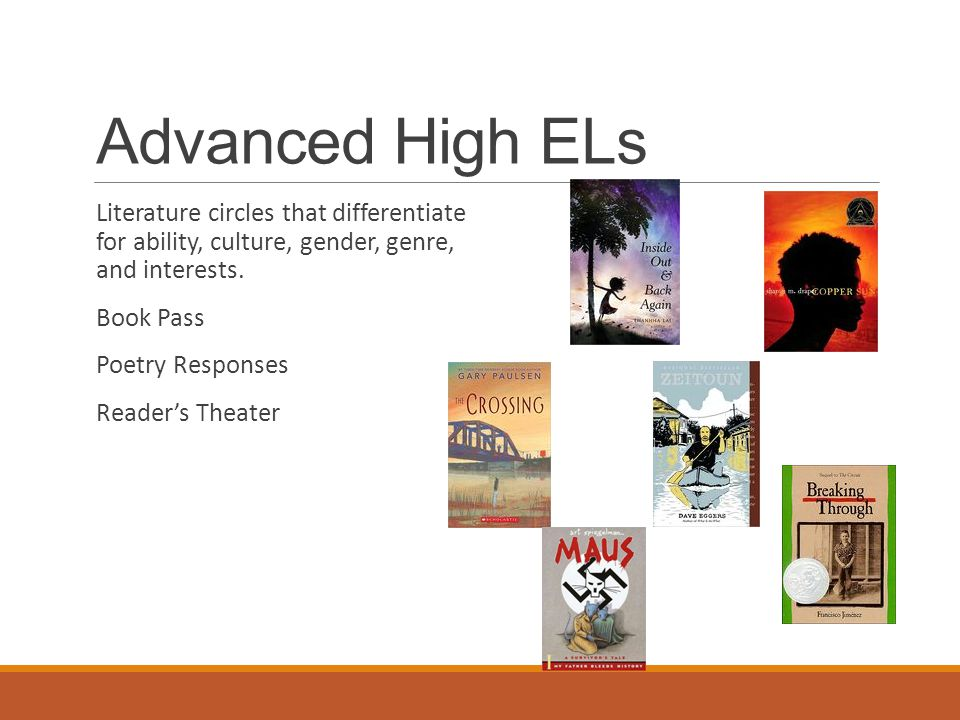 Advanced High ELs Literature circles that differentiate for ability, culture, gender, genre, and interests.