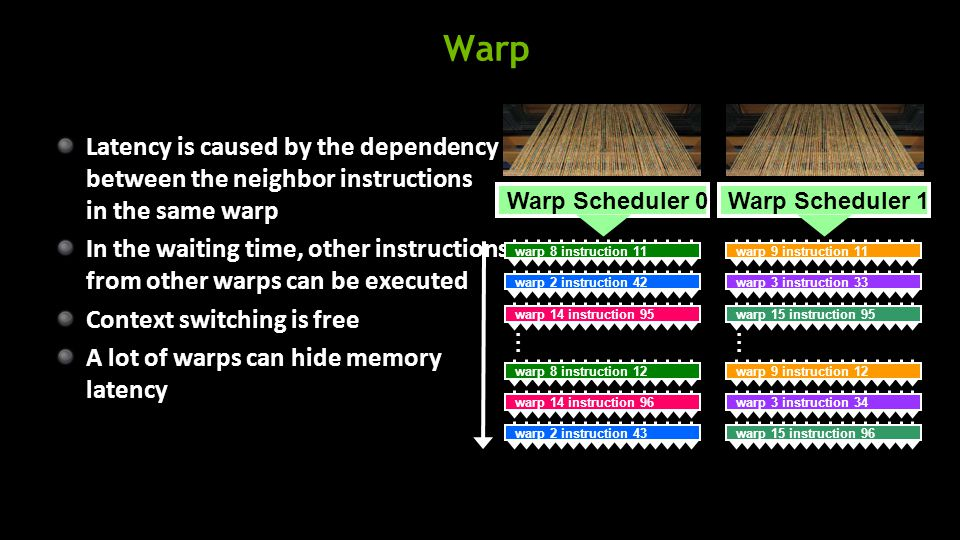 Warp Latency is caused by the dependency between the neighbor instructions in the same warp In the waiting time, other instructions from other warps can be executed Context switching is free A lot of warps can hide memory latency warp 8 instruction 11 Warp Scheduler 0 warp 2 instruction 42 warp 14 instruction 95 warp 8 instruction