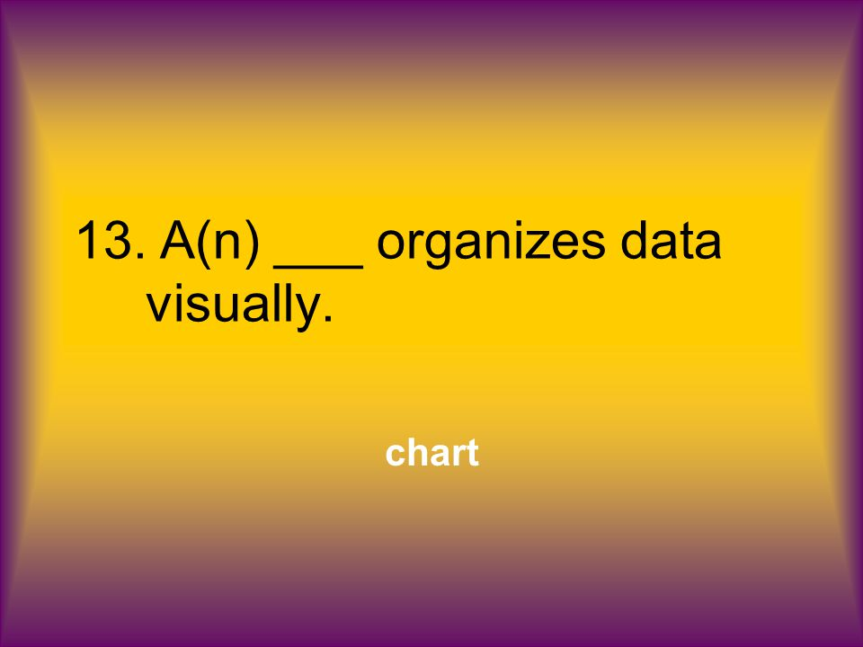 13.A(n) ___ organizes data visually. chart