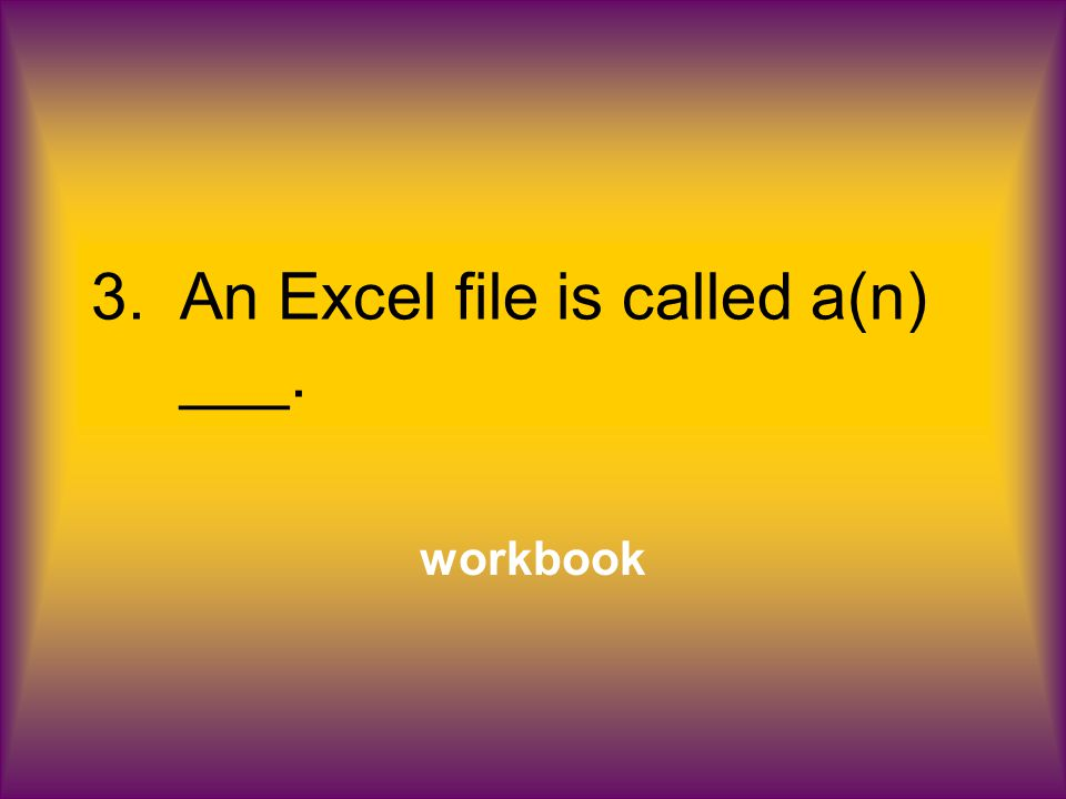 3.An Excel file is called a(n) ___. workbook