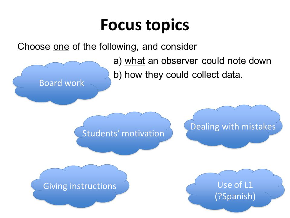 Focus topics Choose one of the following, and consider a) what an observer could note down b) how they could collect data.