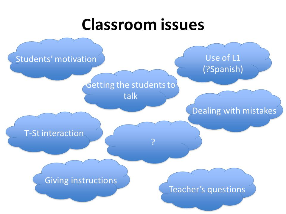 Classroom issues Giving instructions T-St interaction Getting the students to talk Students' motivation Use of L1 ( Spanish) .