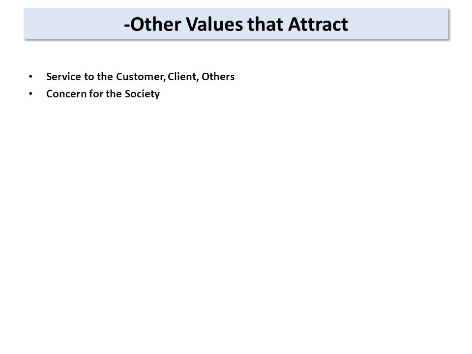 -Other Values that Attract Service to the Customer, Client, Others Concern for the Society