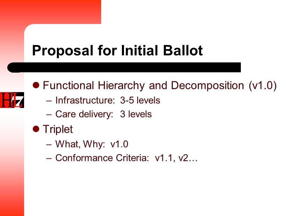 Proposal for Initial Ballot Functional Hierarchy and Decomposition (v1.0) –Infrastructure: 3-5 levels –Care delivery: 3 levels Triplet –What, Why: v1.0 –Conformance Criteria: v1.1, v2…