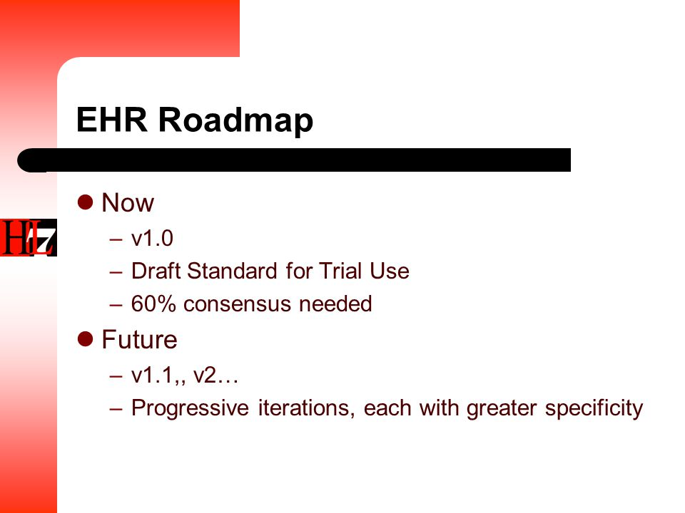 EHR Roadmap Now –v1.0 –Draft Standard for Trial Use –60% consensus needed Future –v1.1,, v2… –Progressive iterations, each with greater specificity
