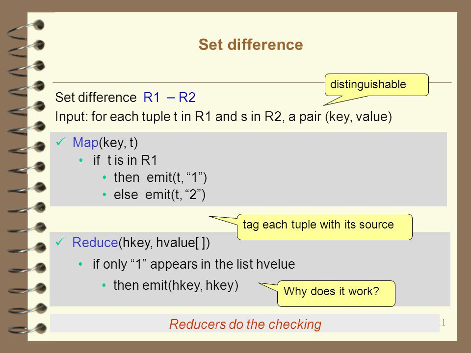 11 Set difference Reducers do the checking Map(key, t) if t is in R1 then emit(t, 1 ) else emit(t, 2 ) Reduce(hkey, hvalue[ ]) if only 1 appears in the list hvelue then emit(hkey, hkey) Input: for each tuple t in R1 and s in R2, a pair (key, value) tag each tuple with its source Why does it work.
