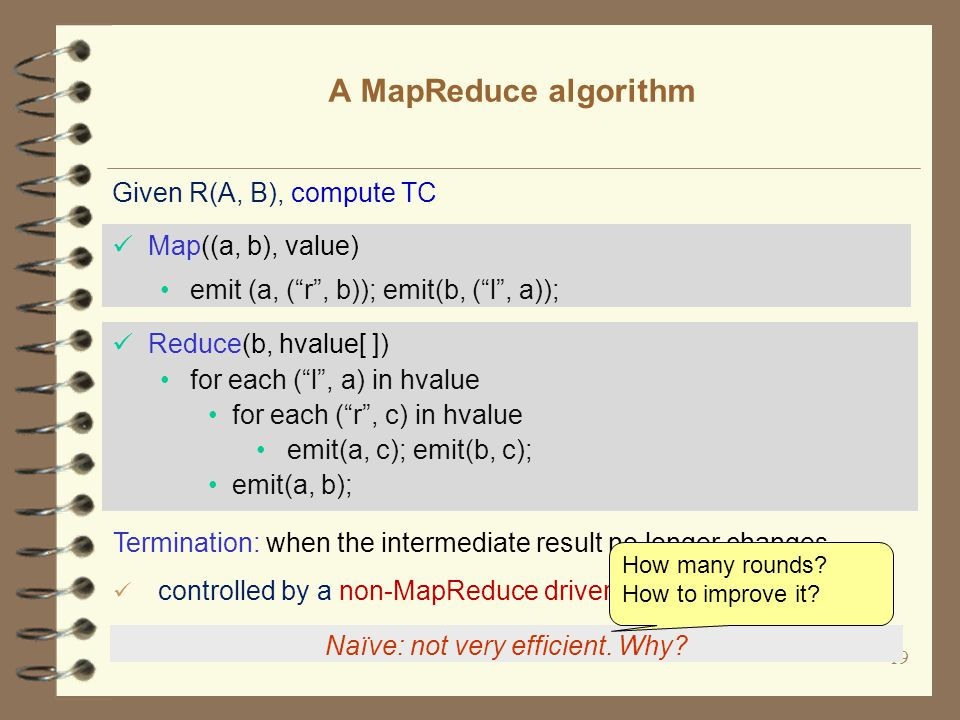 19 A MapReduce algorithm Naïve: not very efficient.