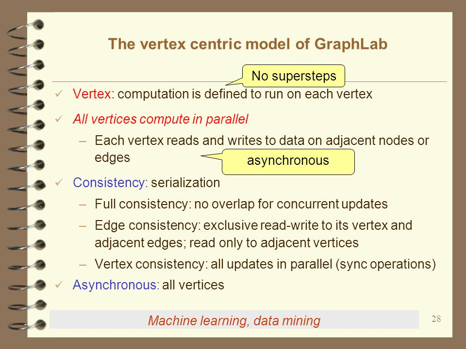 28 The vertex centric model of GraphLab Vertex: computation is defined to run on each vertex All vertices compute in parallel –Each vertex reads and writes to data on adjacent nodes or edges Consistency: serialization –Full consistency: no overlap for concurrent updates –Edge consistency: exclusive read-write to its vertex and adjacent edges; read only to adjacent vertices –Vertex consistency: all updates in parallel (sync operations) Asynchronous: all vertices No supersteps asynchronous Machine learning, data mining