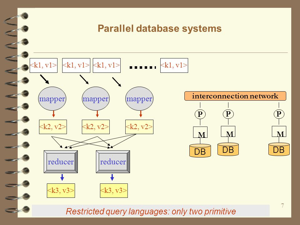 7 Parallel database systems Restricted query languages: only two primitive mapper reducer DB P M P M P M interconnection network